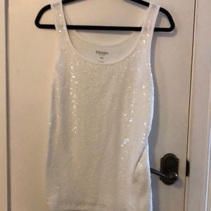 Old Navy white beaded tank top size Lg